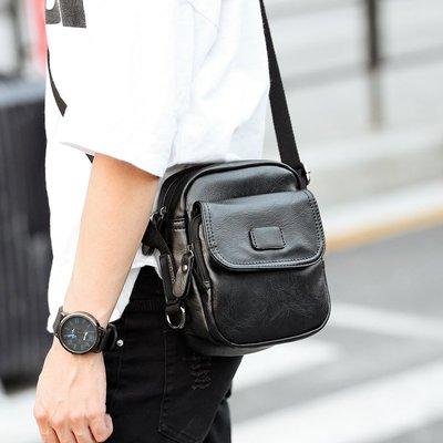韓版 簡約 個性 創意 百搭 帆布 運動 休閒 PU 牛皮 羊皮 潮男 男士小背包 便攜帶單肩斜跨包 街頭手機包包潮包