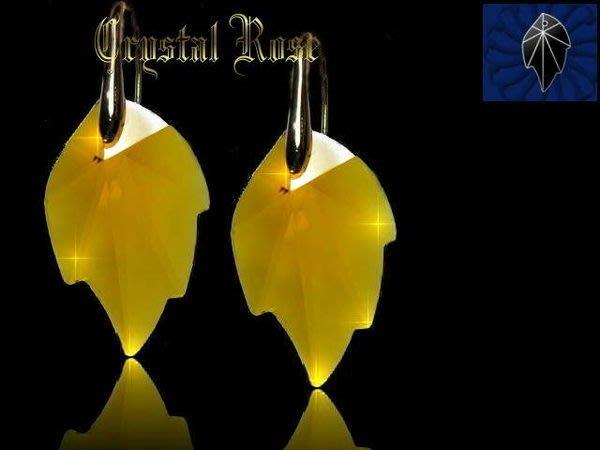 ※水晶玫瑰※ SWAROVSKI 大楓葉水晶吊墜 進口鍍金鑽耳勾式耳環(DD089)