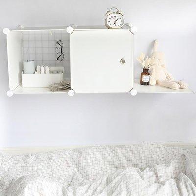 寢室簡易組合柜帶門床上收納柜床頭置物架zg