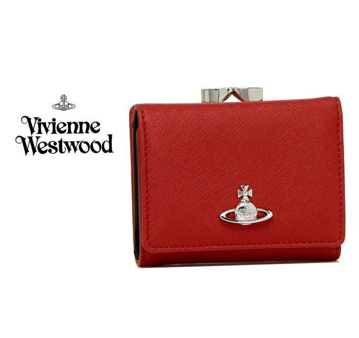 Vivienne Westwood ( 紅色 ) 防刮壓紋 真皮三摺短夾 皮夾 錢包|100%全新正品|特價!
