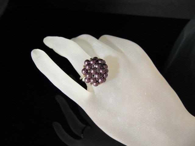 ※水晶玫瑰※ SWAROVSKI 水晶珍珠戒指~ 銀葡萄紫(HAND47)