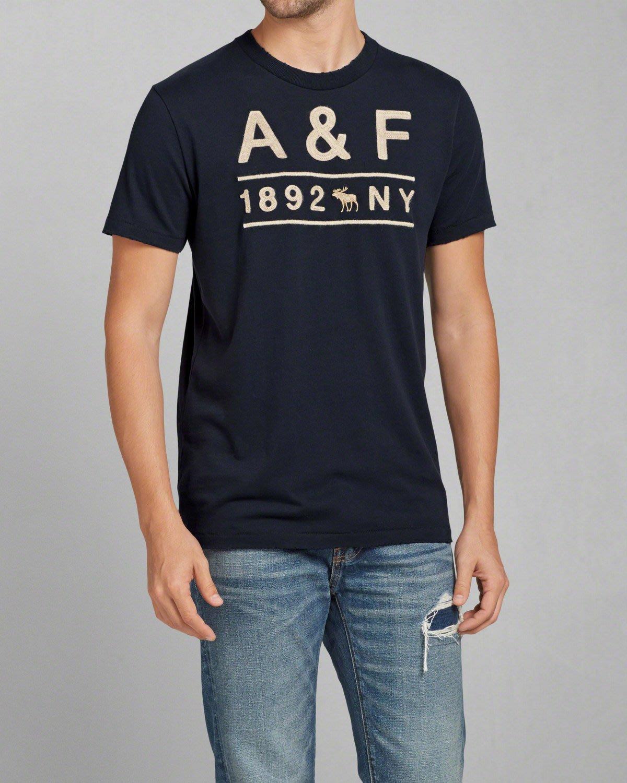 美國AMPM【現貨 #T26】AF/ A&F  男版  麋鹿 刺繡貼布短T APPLIQUE LOGO GRAPHIC