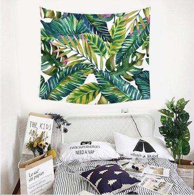 【現貨】北歐風掛毯掛布 繽紛棕梠葉 一堆葉子樹葉 北歐葉子 綠意 風景房 兒童房 掛布 背景布 沙灘巾 野餐巾 裝飾掛飾