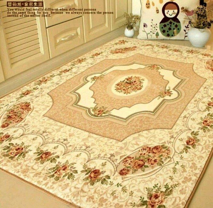 粉紅玫瑰精品屋~ 歐式玫瑰客廳地毯 床邊毯~120*180公分
