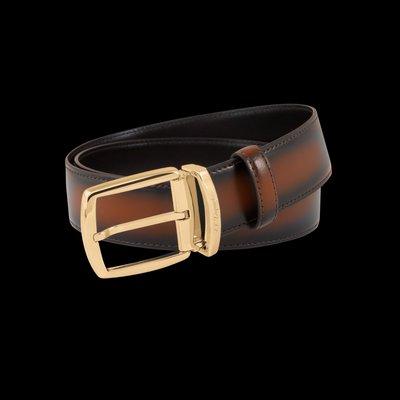 S.T. Dupont 都彭  漸層棕色金頭皮帶 35mm