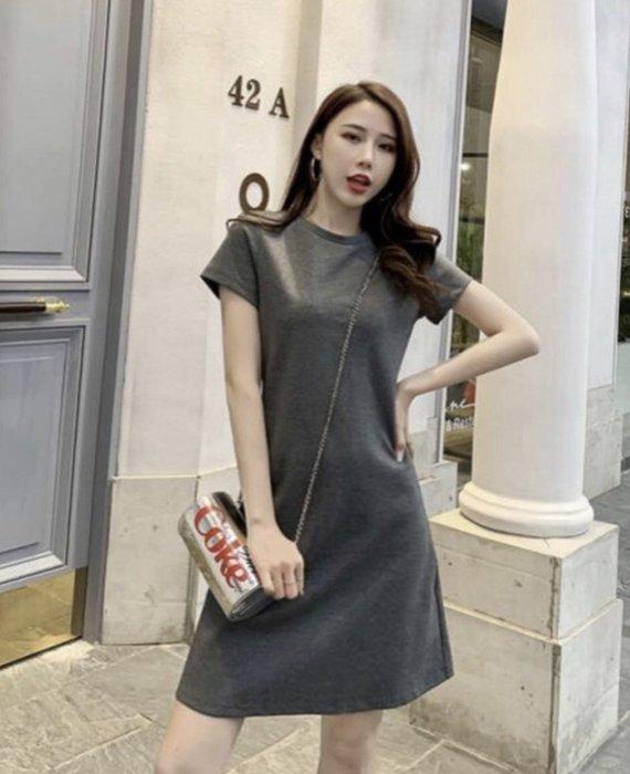 【艾蜜麗】修身顯瘦薄款莫代爾A字短袖洋裝(2色)