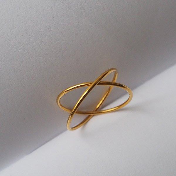 交錯戒指 基本款 細戒指  [鈦鋼] 保色 防過敏 【IM010】