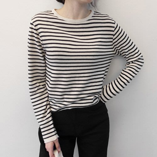 百搭實穿條紋T恤 輕柔舒適條紋長袖上衣 艾爾莎【TGK7014】