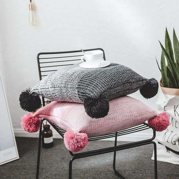 【Uluru】北歐簡約 漸層針織毛球抱枕 靠枕 方形 抱枕套 枕芯 北歐清新 靠墊 客廳 沙發 臥室 傢飾軟件 配件
