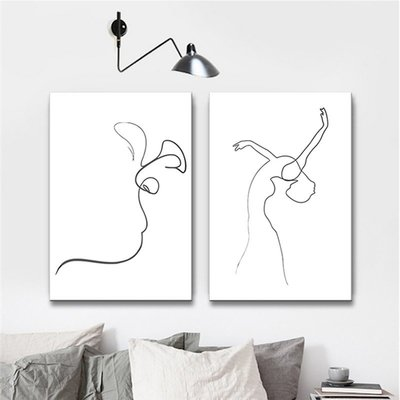 時尚新款復古北歐風格ins現代簡約客廳背景墻裝飾畫臥室掛畫極簡抽象人物線條