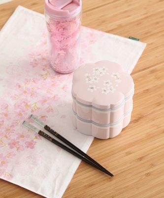 Ariel's Wish日本Afternoon Tea限定春櫻浪漫粉紅色櫻花杯雙層便當盒野餐盒子-日本製-絕版品最後一組