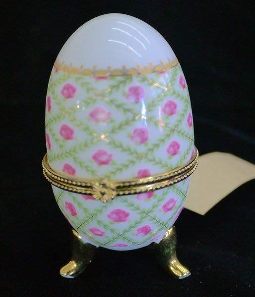 義大利蛋型金邊飾品盒 瓷器彩繪收納盒  公主飾品收納 藝術擺飾