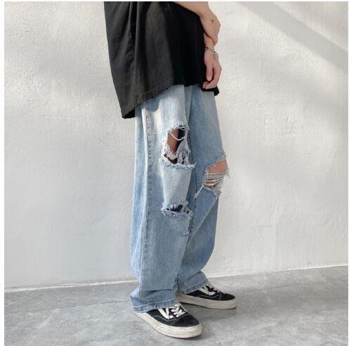 FINDSENSE X 男士休閑褲 運動褲 工作褲 長褲牛仔破洞牛仔褲