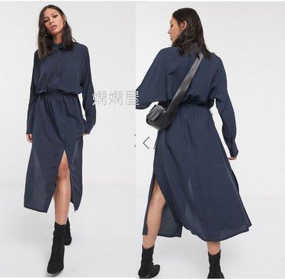 (嫻嫻屋) 英國ASOS-Weekday優雅時尚名媛藍色襯衫領雙開叉鈕釦中長裙洋裝 JI19