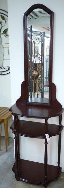 古典化妝桌 化妝檯 胡桃色鏡檯 置物架  (非IKEA 、HOLA)[布拉格家居]
