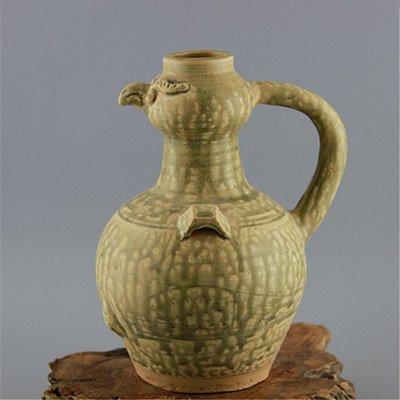 ㊣姥姥的寶藏㊣ 西晉越窯手工瓷青釉雙系鷹頭壺