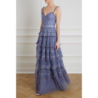 英國品牌 Needle & Thread ruffles風格 超仙氣質刺繡洋裝禮服