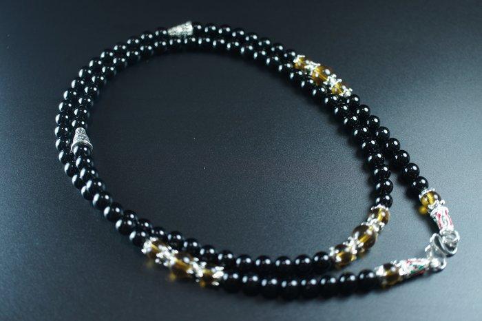 「還願佛牌」泰國 佛牌 鏈 串珠款 項鍊 單掛 經典 鏈子 黑瑪瑙 黃水晶 6 mm
