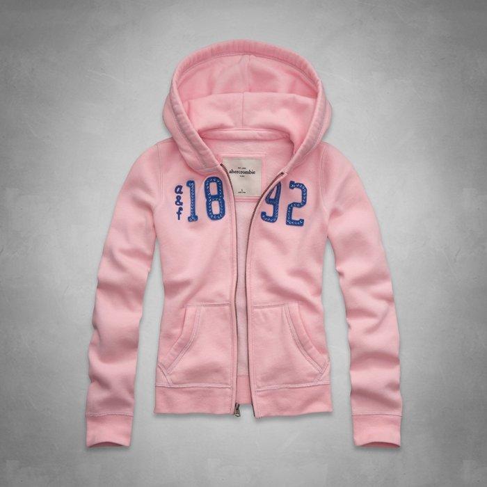 Maple麋鹿小舖 abercrombie&fitch * a&f 女童款粉色連帽外套 * ( 現貨XL號 )