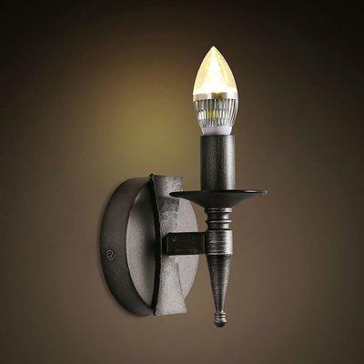 5Cgo【燈藝師】含稅會員有優惠 522839770387 美式鄉村風格工業復古牆燈走廊燈鐵藝蠟燭單頭黑色壁燈LED