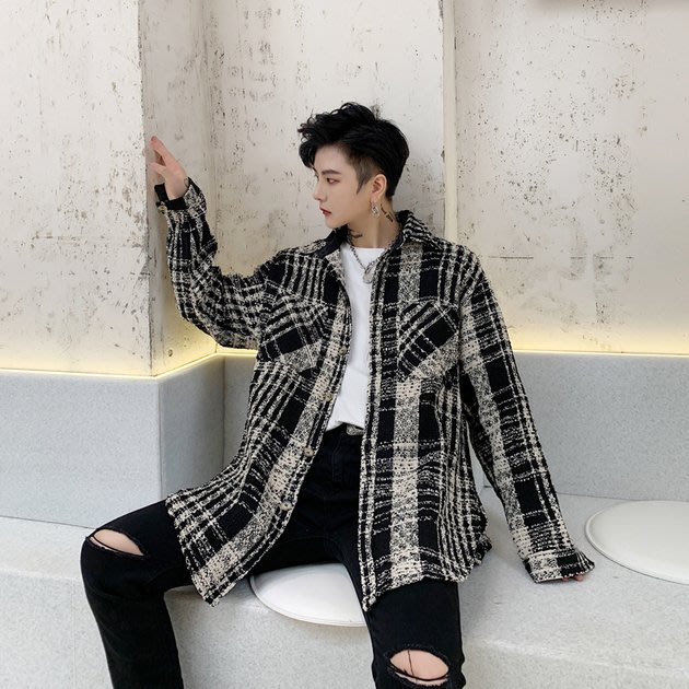 FINDSENSE 2019 秋冬上新 G19  復古粗紡毛呢格子個性寬鬆襯衫外套男裝百搭寬鬆休閒外套