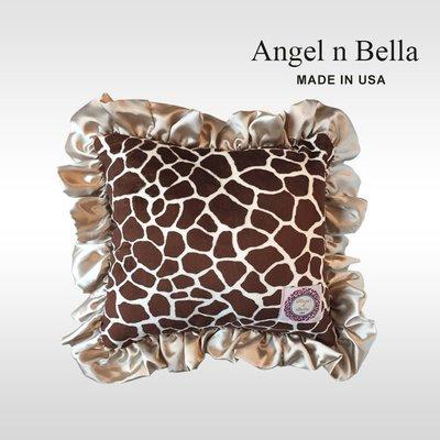 ☆°Angel n Bella.╯☆°【美國製】頂級時尚動物紋花苞抱枕-經典長頸鹿