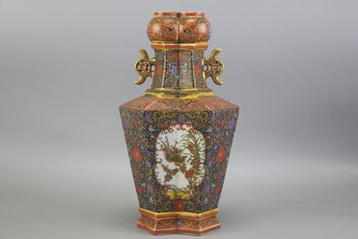 大清雍正描金粉彩花鳥紋雙管瓶 古玩 古董 民間收藏