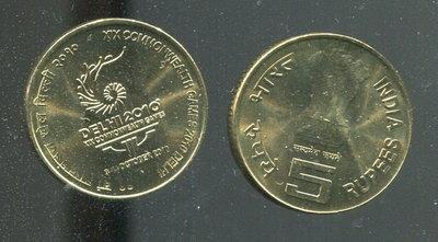 【紀念幣】INDIA (印度), 5 Rupee , K391 , 2010 第19屆聯邦運動會 品相全新UNC