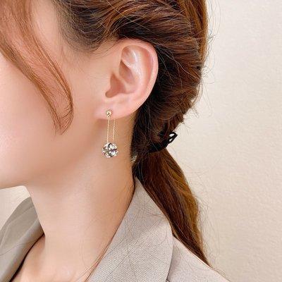 sppgge ONE~水鉆耳環2020新款潮一款兩戴耳釘后掛式個性純銀針耳飾網紅耳墜女
