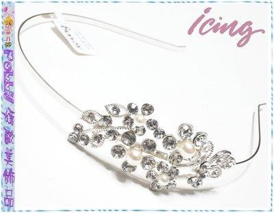 ☆POLLY媽☆歐美ICING水晶鑽珍珠花朵葉片銀色金屬細版髮箍USA$16.5