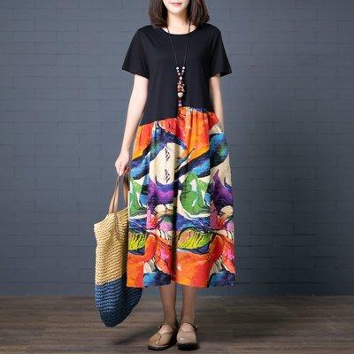文藝復古連衣裙夏季寬松大碼顯瘦拼接洋氣印花棉麻短袖連衣裙