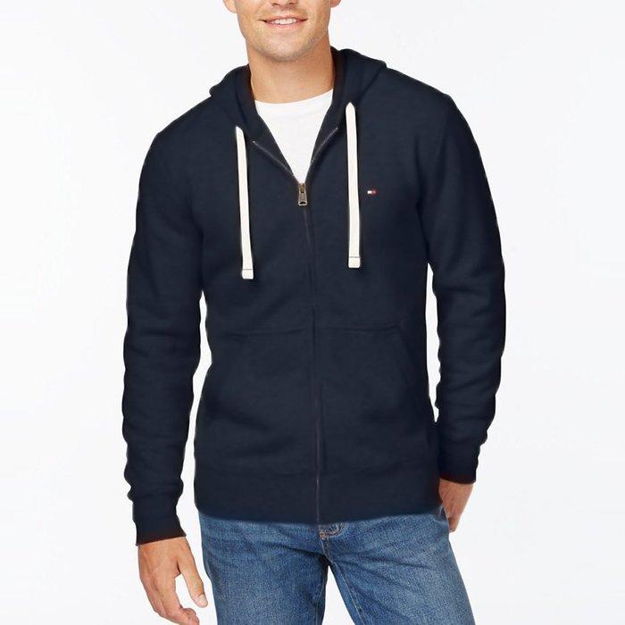 美國百分百【全新真品】Tommy Hilfiger 連帽 TH 外套 夾克 經典 Logo 男 深藍 M號 H589