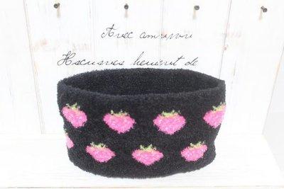 天使熊小鋪~日版寒冬加厚保暖圍脖圍巾超保暖脖圍 領巾 使用後再圍巾超保暖-草莓款