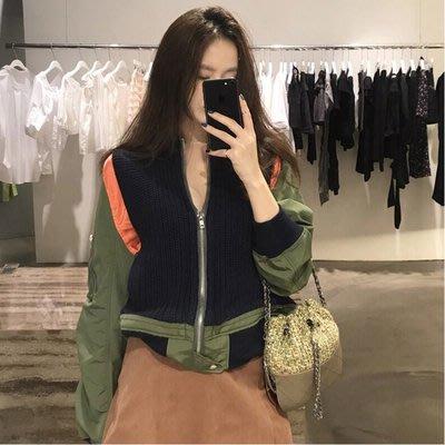 小魔女 獨家新款 性感 時尚 名媛 氣質 優雅 東大門 個性 設計 針織拼色 拼接夾克 個性外套