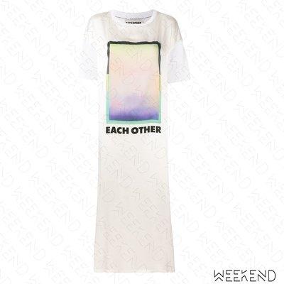 【WEEKEND】 EACH X OTHER 異材質 拼接 印圖 文字 側邊開岔 短袖 連身裙 長洋 白色