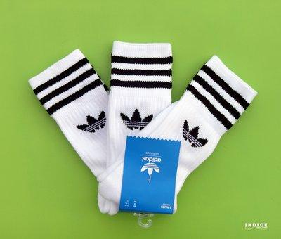 INDiCE ↗ADIDAS ORIGINALS SOLID CREW 經典三線中筒襪 長襪 S21489 三件式 白