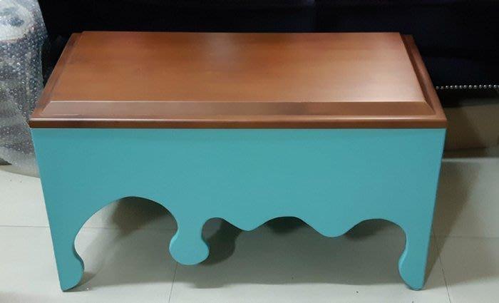 【現貨限量品】美生活館 全新紐松原木 SWEET 巧克力造型收納椅穿鞋椅玄關椅 電話椅---咖啡+藍綠色