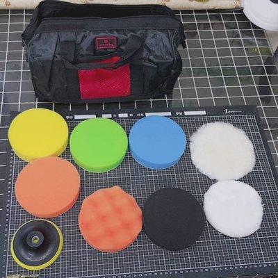 尚溢五金-含小手提工具袋-代號S5.8-11件打蠟組-4吋磨盤搭配5吋打蠟海綿毛輪-適用於電鑽-汽車與機車打蠟機車打蠟