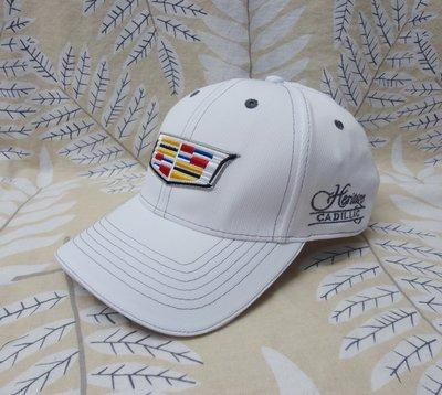 美國 Cadillac 凱迪拉克 賽車帽 立體刺繡 高爾夫 棒球帽 遮陽帽 透氣純棉 白色