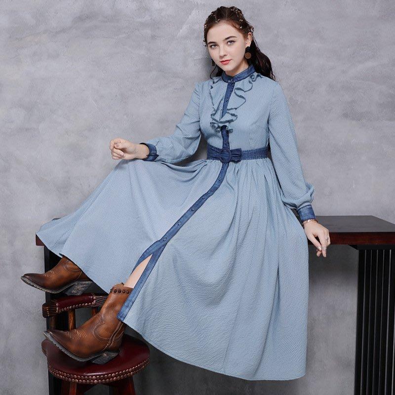 ♥ 裁縫師公主 ♥條紋荷葉邊領收腰修身連身裙