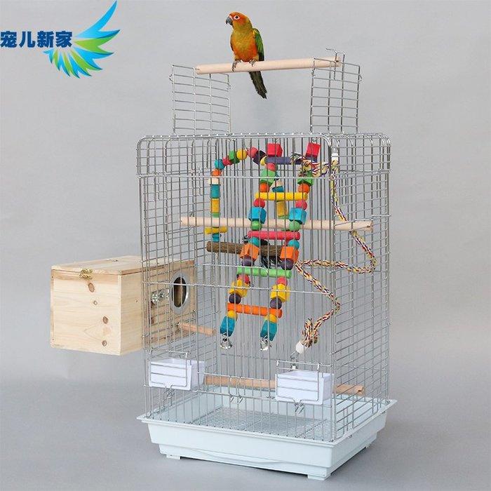 鸚鵡用品 電鍍鉻大型鸚鵡鳥籠子 灰鸚鵡 金屬 帶鸚鵡站架 大號加粗型A20