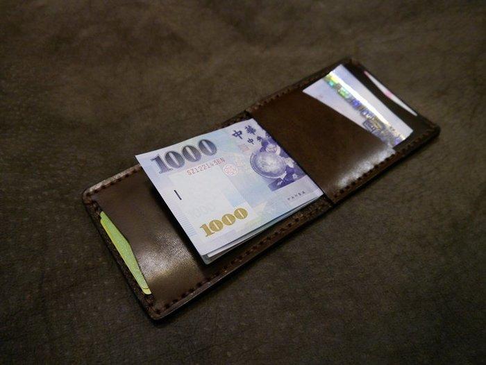 KH手工皮革工作室 MIT台灣藝文創作全手工鈔票夾 短皮夾 錢包 短夾 名片證件卡片套 信用卡皮套配色自選可燙字