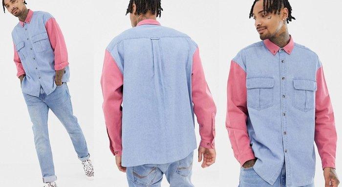◎美國代買◎ASOS粉紅袖長與領口拼接牛仔復古英倫時尚街風粉紅拼接雙色牛仔長袖襯衫~歐美街風~大尺碼