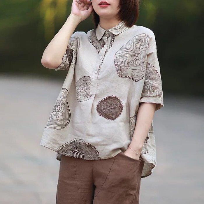 樹木年輪設計短袖棉麻襯衫上衣