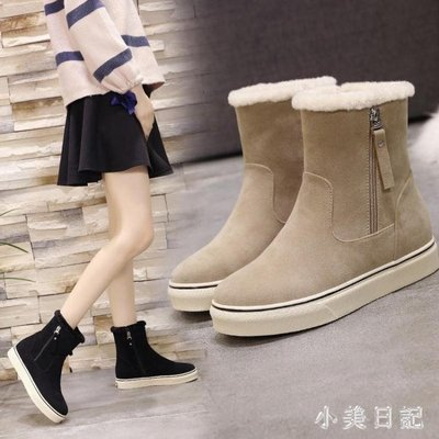 大碼平底短靴 雪地靴女新款潮學生韓版平底百搭馬丁靴加絨面保暖棉鞋短靴 qf18192
