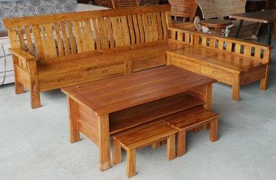 【南台灣傢俱】L型100%印尼柚木全實木組椅(不含坐墊.靠墊)**原特價$75000,超低特價$52000元免運費
