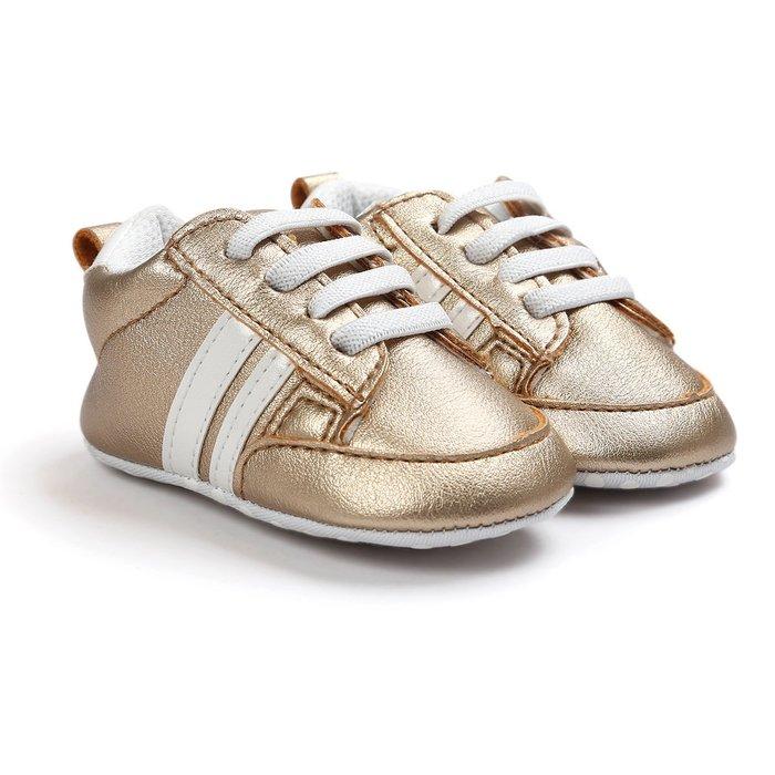 森林寶貝屋~特價~時尚金色休閒球鞋~學步鞋~幼兒鞋~寶寶鞋~嬰兒鞋~學走鞋~童鞋~鬆緊帶設計~坐學步車穿~彌月贈禮