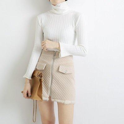 1128冬名媛風菱格絨面質感仿毛拼接顯瘦短裙a字半身裙877