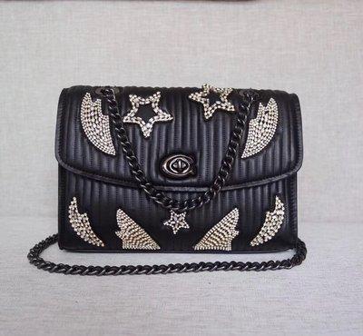 美國正品 COACH 31029 蔻馳新款Parker系列鏈條女包 手提包 單肩背包 精美水晶鑲嵌裝飾