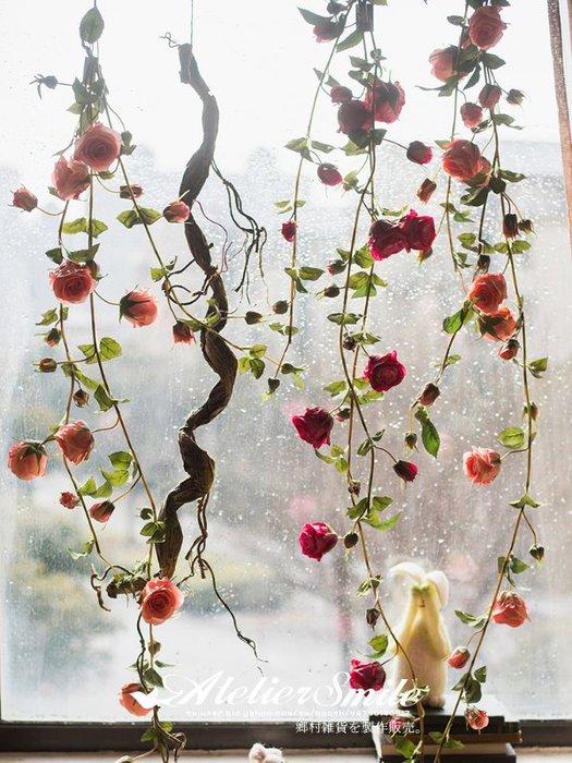 [ Atelier Smile ] 鄉村雜貨 小花園系列 仿真玫瑰花藤 裝飾果樹 仿真植物 藤蔓 # 三分支 (現+預)